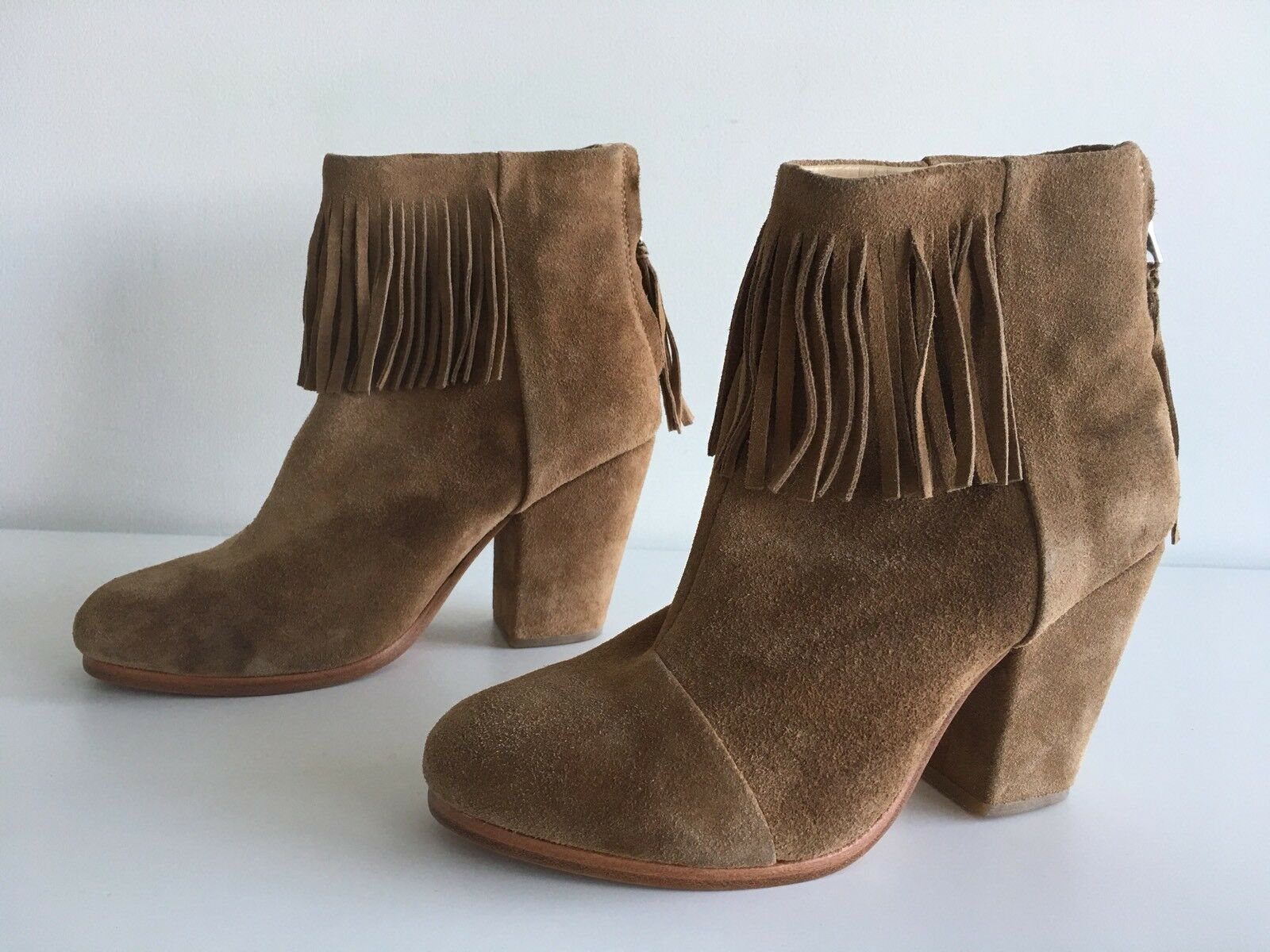 Rag & Bone Bone Bone Newbury flecos de gamuza tobillo bota, Camel. Talla 36.5  autentico en linea