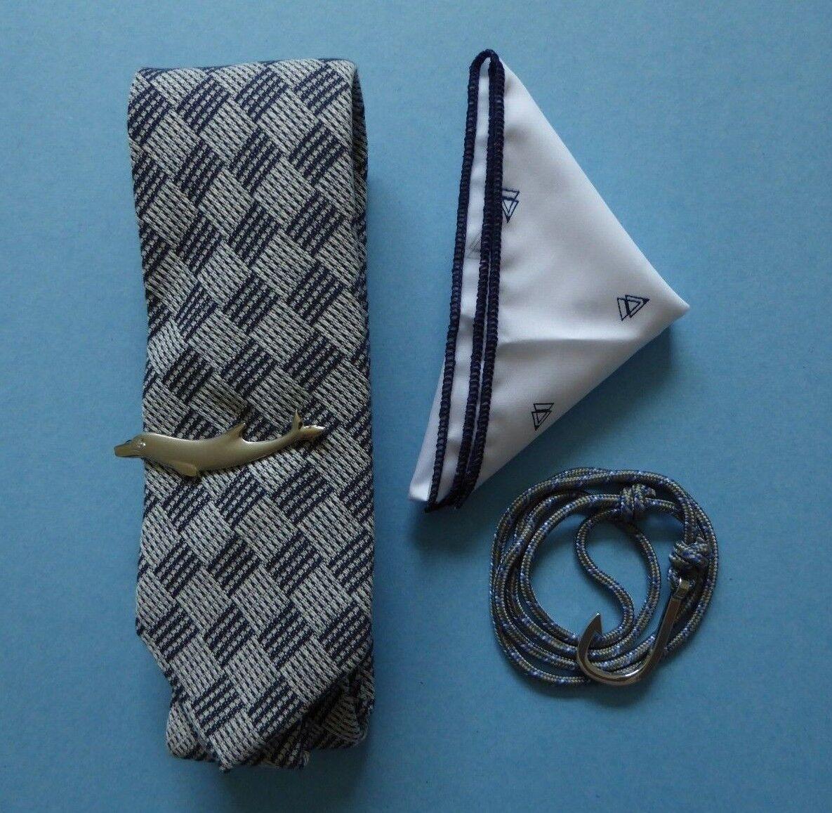 Harrison Blake Blue Block Tie + HB Pocket Square + Dolphin Tie Bar + Bracelet