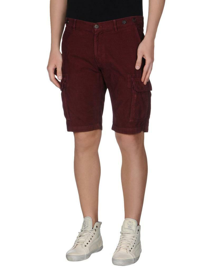 Brunello Cucinelli Corduroy Burgundy Cargo Shorts sz 54   38 New with Tags