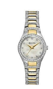 Bulova-Women-039-s-Quartz-Crystal-Accents-Mother-of-Pearl-Dial-24-5mm-Watch-98L198