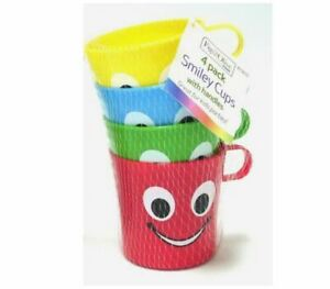 4 X Smiley Face Cups With Handle Kids Plastic Party Holidays Garden Beach Mugs