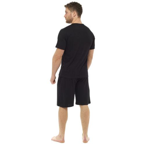 Mens Button Placket Top Plain Cotton Jersey Short Pyjamas Set Sizes M-XXL