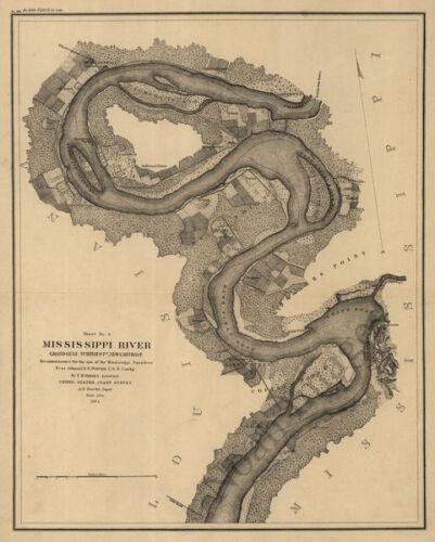 Mississippi River Reconnaissance c1864 map 16x20