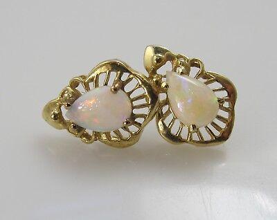Estate 14k Yellow Gold Natural Opal Stud Earrings Ebay