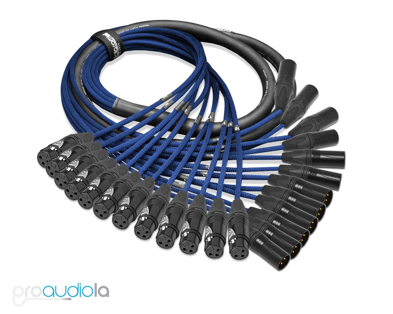 Premium Mogami 2933 12 Channel Snake Neutrik Gold XLR-F XLR-M Blau 60 Feet