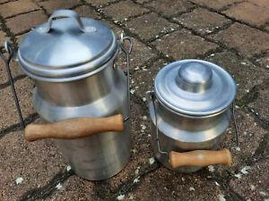 3 Teile  alte 2x Milchkanne Alu  Brotdose Shabby Chic Gartendeko Camping Vintage