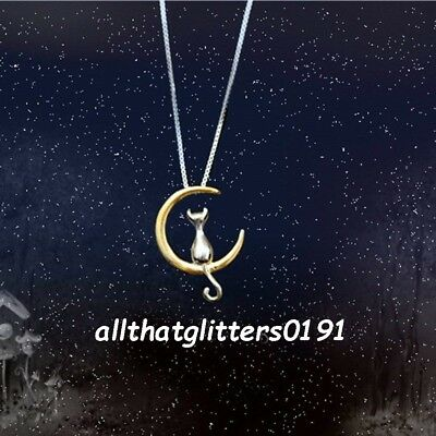 BNWT Silver /& Gold Pendant Cat on the Moon Necklace UK Seller