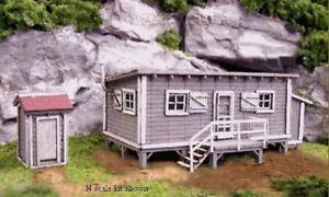 Blair-Line-1000-Joe-s-Cabin-amp-Outhouse-Huette-amp-Schuppen-N-1-160-Laser-Cut