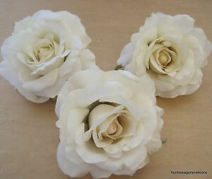 Three piece lot large 4 12 cream white rose silk flower hair clips image is loading three piece lot large 4 1 2 034 mightylinksfo