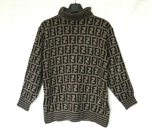 FENDI sweater brown black wool man ladies jumper z
