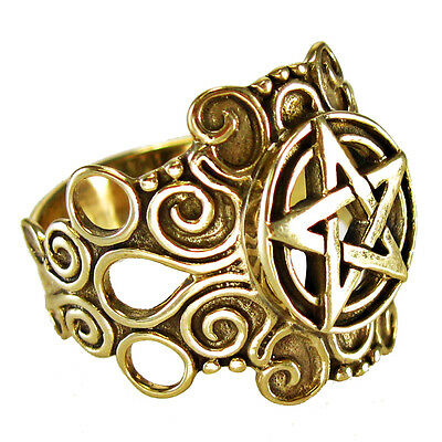 Large Bronze Ornate Pentacle Ring Pagan Jewelry Wiccan Gold Color sz 4-15