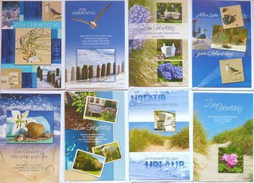 100 Glückwunschkarten Geburtstag, PREMIUM Geburtstagskarten Sommer Strand NEU!