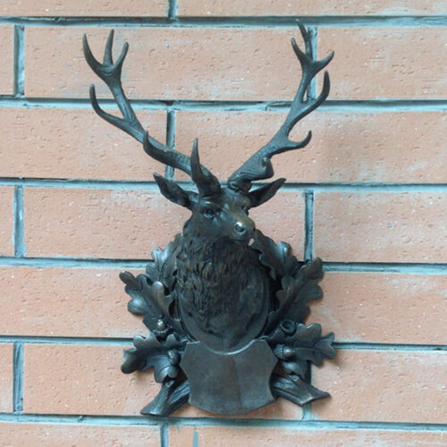 Art Deco handmade Sculpture Animal deer head Bronze Copper Statue