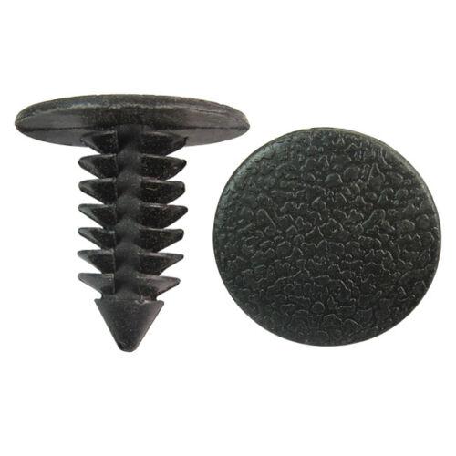 100 Automotive Bumper Door Clip Trim Retainer Plastic Push Fastener Fit 9mm Hole
