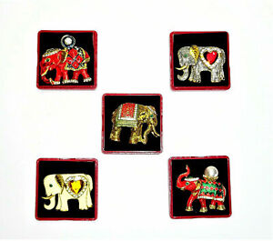 Brosche Elefant gold silber rot Strass Perlen Steine Thailand Asien