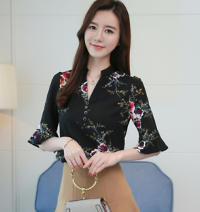 Summer-Women-039-s-Floral-Casual-Chiffon-Half-Sleeve-Shirt-Loose-Tops-Blouse-Tee