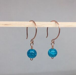 COPPER EARRINGS WITH AQUA BLUE CRACKLE BEADS HANDMADE BEAUTIFUL AND UNIQUE