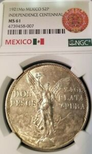 1921-MEXICO-SILVER-2-PESOS-INDEPENDENCE-CENTENNIAL-NGC-MS-61-NICE-LUSTER