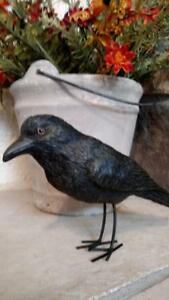 "NWT 8.5"" Realistic Life Size BLACK CROW Bird Shelf Sitter Fall HALLOWEEN Decor"