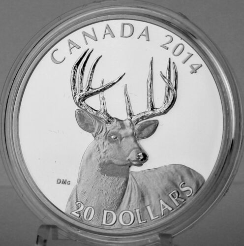 2014 $20 The White-Tailed Deer Portrait 1 oz Pure Silver Proof Edge Lettering