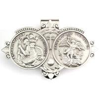 Visor Clip St Christopher & St Michael Medals Silver Pewter Vintage Car Catholic
