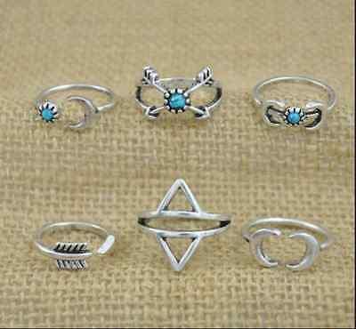 BOHO 6 Pc/Set Turquoise Arrow Moon Elephant Statement Midi Vintage Rings Jewelry