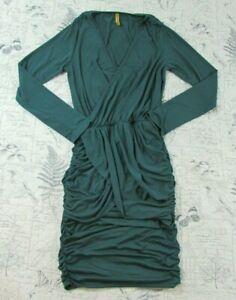 EUC-women-039-s-Rachel-pally-green-ruched-side-ong-sleeve-faux-wrap-dress-medium-M