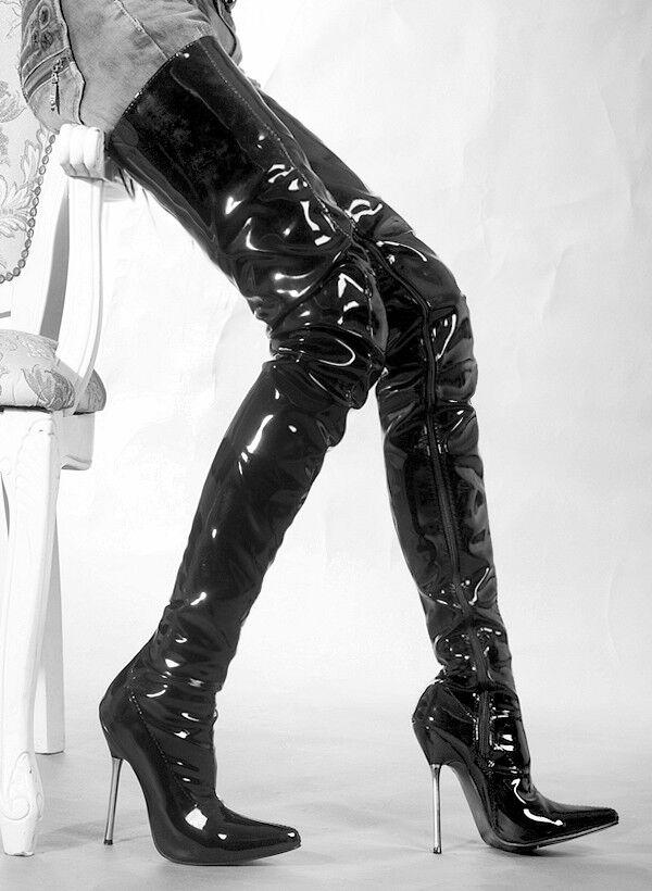 UK Femmes Cuir Verni Stretch Point Toe Dessus Genou Bottes Cuissardes Talon Haut Danse