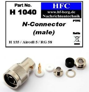 1-Stueck-N-Stecker-fuer-H-155-Aircell-5-RG-58-Koaxkabel-50-H1040