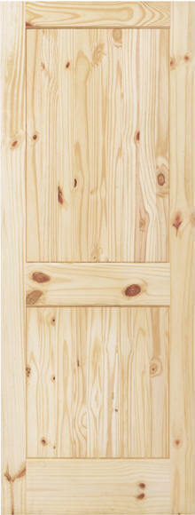 2 PANEL SQUARE V-GROOVE KNOTTY PINE STAIN GRADE SOLID CORE INTERIOR WOOD DOORS