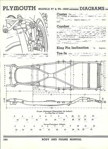 1939 Plymouth P7 P8 Frame Dimensions Alignment Specs Ebay