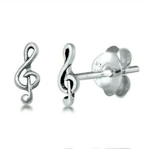 Music-Note-Stud-Earrings-Genuine-Sterling-Silver-925-Jewelry-Product-Height-7-mm