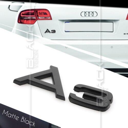 MATTE BLACK A3 REAR BOOT TRUNK LOGO LETTER EMBLEM BADGE FOR AUDI QUATTRO S LINE