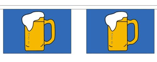 BEER 3 METRE BUNTING 10 FLAGS flag 3M BAR PUB PARTY FESTIVAL