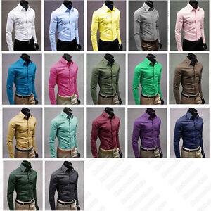 Mens-Boys-Slim-Skinny-Fit-Shirt-Smart-Casual-Formal-Dress-Solid-Plain-Colour