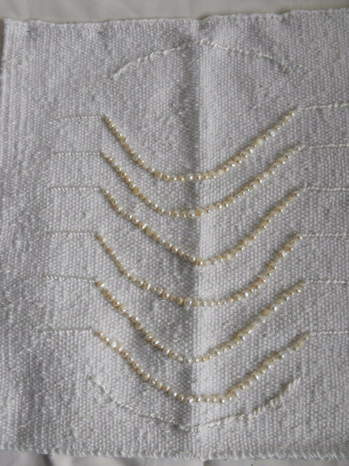 Hand made OOAK woven tapestry wall hanging ART textile Weiß freshwater pearl