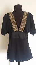 Womens Top Pepe Jeans Size M Babydoll Blouse Black Gold Short Sleeve Batwing