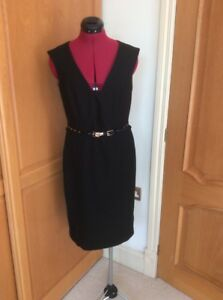 NEXT-SMART-BUSINESS-BLACK-DRESS-SIZE-14-WRIGGLE-PENCIL-KNEE-L-WITH-BELT