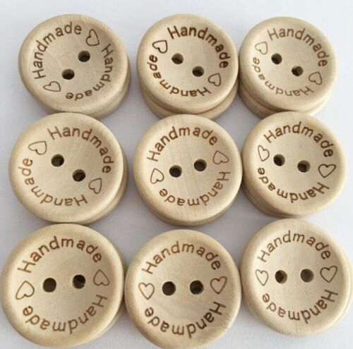 15//20//25mm ❤️ ❤️ Handmade ❤️ Natural Wooden Round Buttons Hand Made 3 Sizes