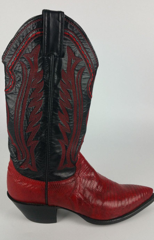 Justin Botas para Mujer 5 5 Mujer B Lagarto Rojo Negro Zapatos vaquero occidental Hecho en EE. UU. d29ed9