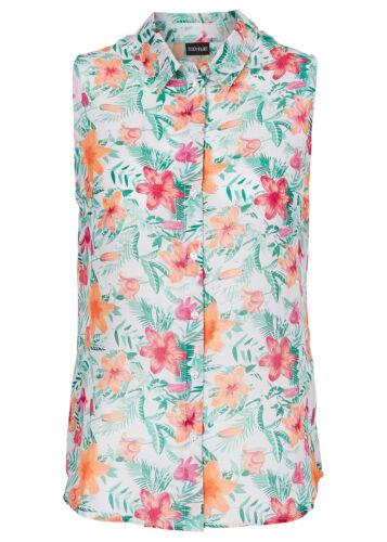 40 913699 Bodyflirt Damen Bluse Top ärmellos Hemd Shirt Blumen-Muster weiss Gr