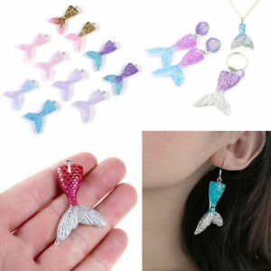 10-Mixed-Glitter-Mermaid-Fish-Tail-Resin-Charm-Pendant-DIY-Fit-Necklace-Earrings