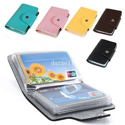 New 12 Cards PU Leather Credit ID Business Card Holder Pocket Wallet Case Purse
