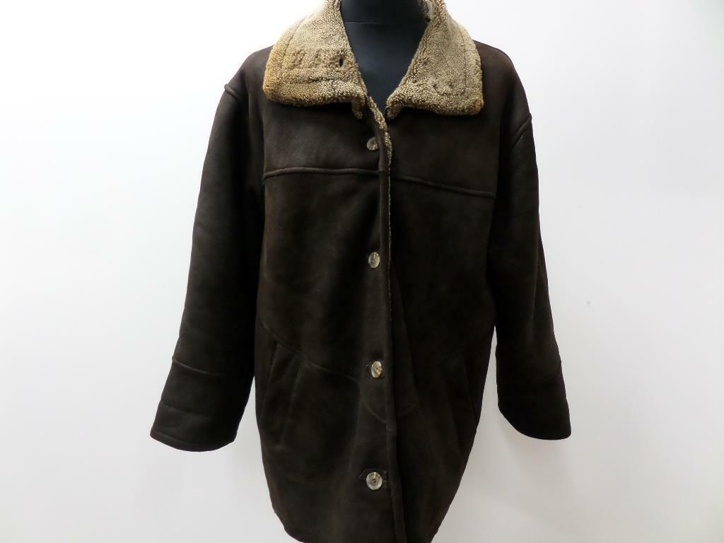 WOMEN VINTAGE REAL LEATHER SHEARLING COAT BROWN SIZE GB18 46  GRADE A W730