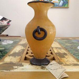 "90's Sandra Rich ROMANO Orange Yellow Gold European Glazed Art Vase 9"" (23cm) H"