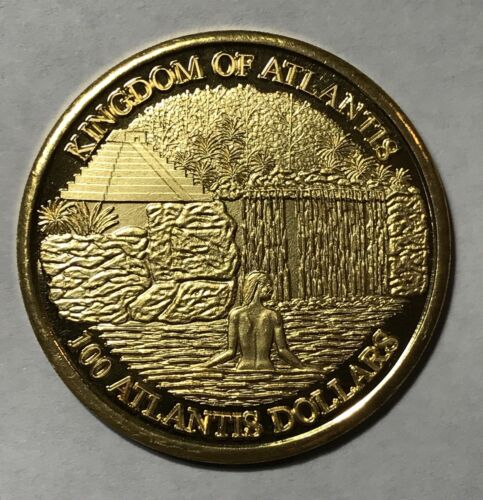 2009 MMIX 100 ATLANTIS DOLLARS KINGDOM OF ATLANTIS RARE GOLD LOT#A250
