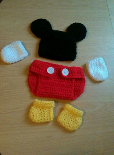 crochet baby mickey mouse hat and nappy cover booties mittens set photo props