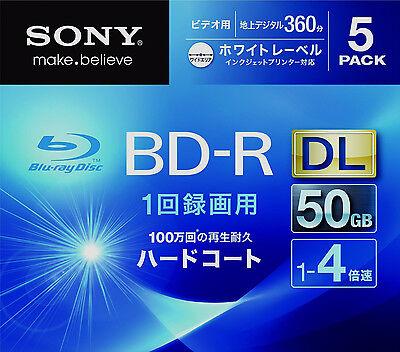 5 Sony 3D Bluray Dual Layer 50 GB 4x Speed BD-R DL Printable Region Free Discs