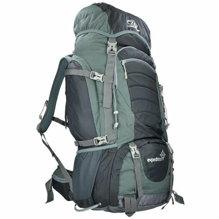 Highlander Backpack Expedition 65L Camping Wandern Reisen Schwarz