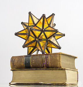 Moravian Star Table Lamp Stained Glass Yellow Amber Bronze Tin